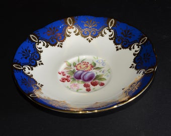 PARAGON, Bone China, orphan teacup SAUCER ONLY, Cobalt Blue and Gold Gilt, and Fruits, England, Vintage, Royal Warrant for Her M The Queen