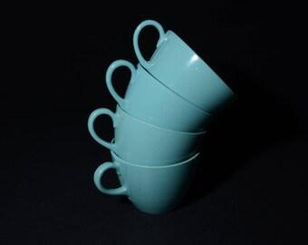 Vintage, Set of 4, MELMAC, by MAPLEX Toronto, Turquoise blue, Teacup, aqua blue, Mid century, Hard Plastic, Melamine, Dinnerware, Camping