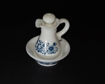 AVON, Vintage, Milk Glass, Pitcher, and Bowl with Blue Floral Pattern, White, Blue and White, Vintage Avon Pitcher, Basin Delft Vanity Decor