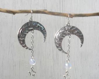Silver Crescent Moon Earrings,Stars,Moonstone,Sterling,Titanium,Hypoallergenic,Ear Wires,Wicca,Wiccan,Boho,Bohemian,Celestial,protection