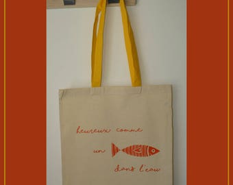 Tote bag sardine - cotton shopping bag - funny tote bag