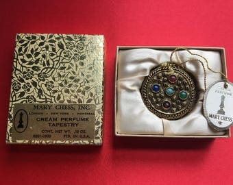 Vintage Mary Chess Tapestry Almost FULL Creme Perfume Compact Gold Tone - 1934 Rare Find - No Chain