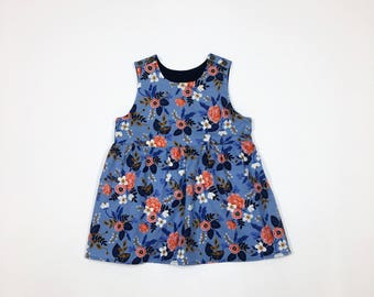 Baby Toddler Girl Floral, Burgundy Red, Navy Blue, Mustard Yellow, Purple, and Green Dress
