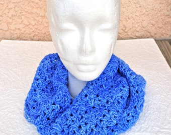 Hand Crocheted Infinity Scarf / Hood in hand-dyed, variegated blues of super-soft, washable merino wool