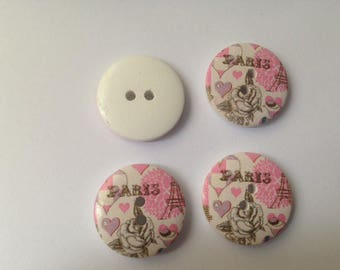 """Paris"" themed wooden buttons"