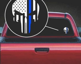 Punisher Thin Blue Line Vinyl Window Decal Sticker