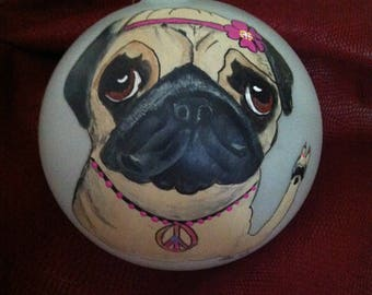 """Pug Ornament """"Peace, Love, Pug"""""""