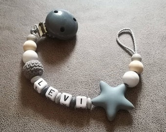 Pacifier in grey/wood/white with desired name < 3