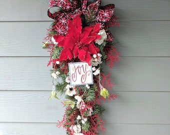 """Christmas """"Joy"""" Swag Wreath in Red, Black, and White"""