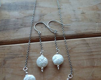 White Coin Pearl Necklace and Earring Set