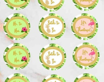 Printable Bridal Shower Cupcake Toppers, Tropical Cupcake Toppers, Flamingo Cupcake Toppers, Bachorelette, Bridal Shower, Instant Download