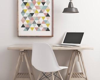 Lámina triángulos pasteles, impresión nórdica, lamina imprimible, Impresión triángulos. Wall Art. Digital Print.