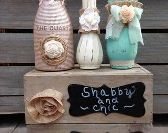 Rustic Quart Bottle Embellished Vase Set