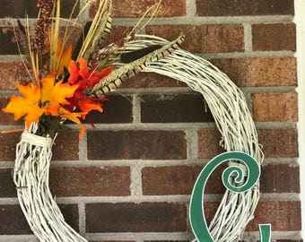Seasonal Vine Wreath with Wooden Letter