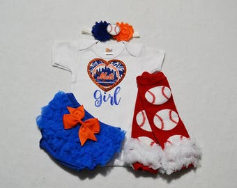 new york mets baby girl outfit - baby girl new york mets outfit - girls mets baseball outfit - new york mets baby girl gift