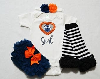 edmonton oilers baby girl outfit - baby girls edmonton oilers outfit -  baby girl edmonton oilers hockey - edmonton oilers baby girl hockey