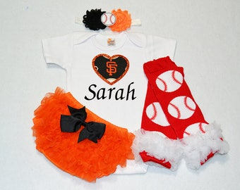 san fransisco giants baby girl outfit - baby girl san fransisco giants outfit - girls giants baseball outfit - giants baby girl gift