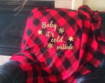 Baby It's Cold Outside, Buffalo Plaid, Throw Blanket