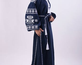 Dark blue long linen dress with white embroidery