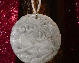 Handmade Chinese White Jade Unicorn Dragon Carved Pendent Vegan Adjustable Necklace