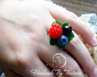Berries rings jewelry of polymer clay raspberries rings blueberries rings blackberry idea gifts earrings with berries handmade ring