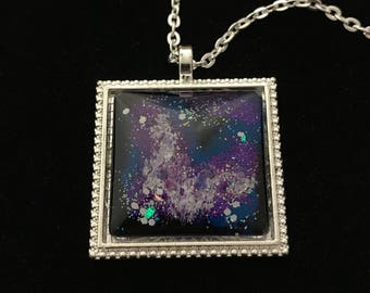 Purple, Blue, and Silver Glitter Glass Pendant Necklace 033