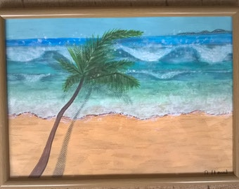 Acrylic 'Tropical Beach'