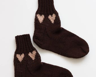 Hand-knitted Wool Socks CHOCO LOVE By VidaFelt - Size 37-38 - Free Shipping!