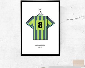 Manchester City 99' Play Off Final Kit - A3/A4 Print