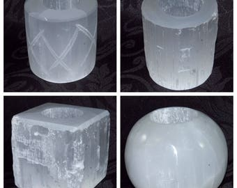 Selenite Candle Holders, All Shapes Available, Cleansing Reiki Crystal Healing