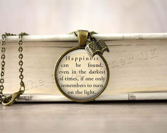 Dumbledore, Harry Potter, 'Happiness Can Be Found' Quote Necklace, Key ring, Keychain