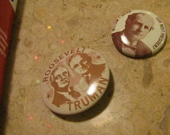 Set of 2 Vintage Political Campaign Buttons made by Kleenex Tissues in 1968 Roosevelt + Truman and William J Bryan