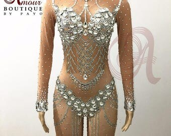 Sexy Nude Gold Lace Sequin Bodysuit Catsuit Britney Spears
