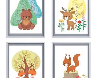 Happy Autumn Animals 8x10 Prints, Set of SIX Instant Download, Printable Decor Bundle, Child Decor, Animal Art, 8x10 Digital Prints