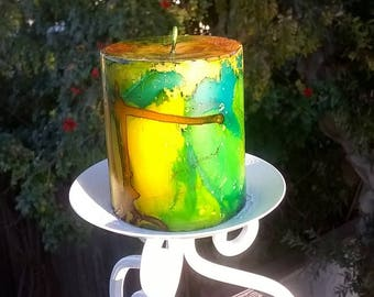 Astonishing Drizzled Inked Painted Scented Candle, Beautiful Home Decor, Gift Item, House Warming Gift etc.