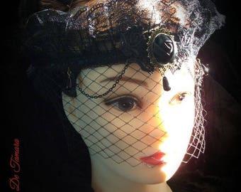 Gothic veil headband, gothic black headband, gothic veil, baroque veil, Gothic headpiece, black baroque headdress
