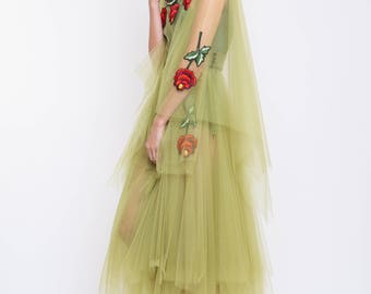 Tulle  midi dress with handmade embroidery