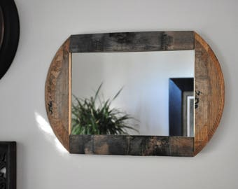 Rustic Whiskey Barrel Mirror