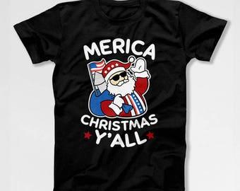 Funny Xmas T Shirt Merica Shirt Christmas Present Ideas Xmas Clothing America TShirt Holiday Gifts Christmas Clothes Merry Xmas TEP-526