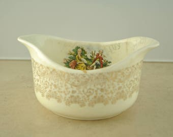 Colonial Ceramic Gold Leaf Gravy Boat Dish