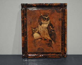 Epoxy Wood Screech Owl Picture - Richard Hinger