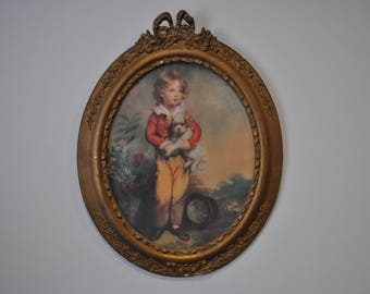 Antique Oval Framed Boy with Dog Print