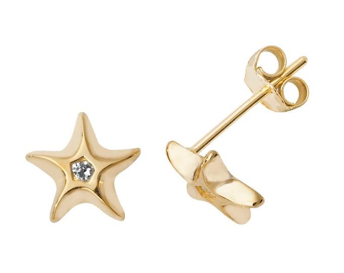 9ct Yellow Gold Cz Starfish Stud Earrings 6mm Diameter