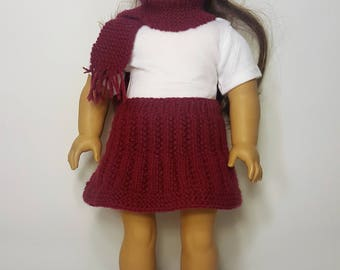"Burgundy Knit Doll Skirt, Hat, Scarf Set - Hand-made to fit like American Girl Doll Clothes - 18"" Doll Clothes - Knit Doll Clothes"