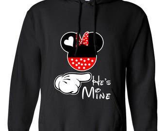 Minnie Mouse He's Mine Minnie Head Design Clothing Adult Unisex Hoodie Hooded Sweatshirt Best Seller Designed Hoodies for Women