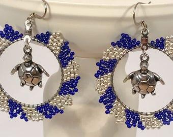 Seed Bead Turtle  Hoop Earrings