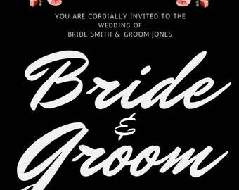 Black and White Floral Wedding Invitation