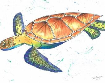 Watercolor Sea Turtle Print