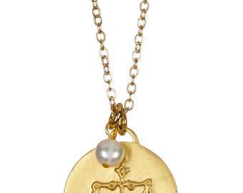 Libra Zodiac Organic Coin & Freshwater Pearl Necklace