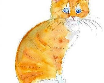 Ginger Kitten Original Watercolor Painting